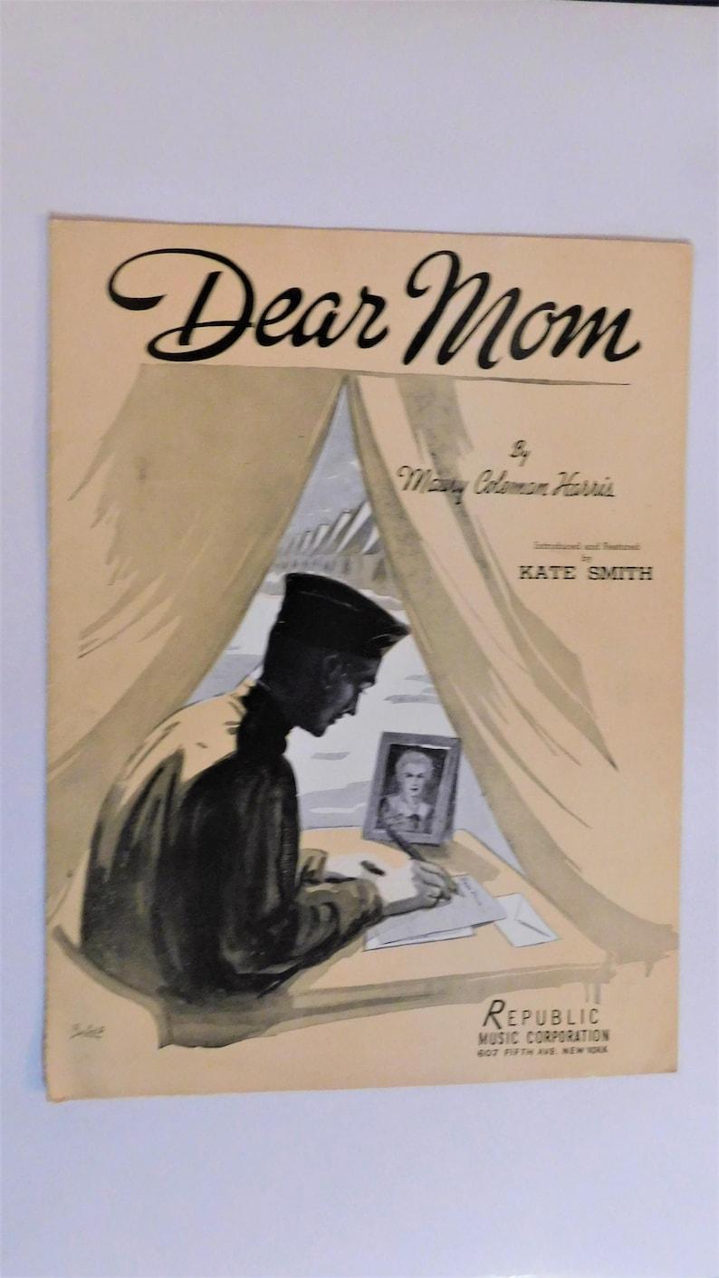 1941 Dear Mom Son in Service Army Military Soldier World War II Sheet Music  WW2 Vintage Barbelle Print