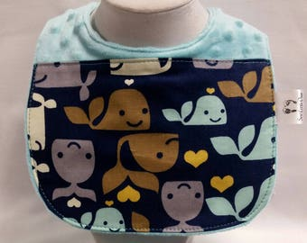 Baby Bib Whale Print with Matching Booties