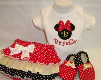 Minnie Personalize Baby Gift Set- Personalize All in One and Ruffle Bottom Diaper Cover