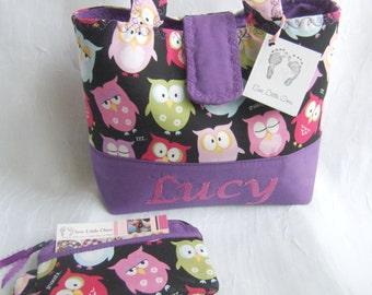 Personalize Owl Children Handbag with Coin Purse-Little Girls Purse