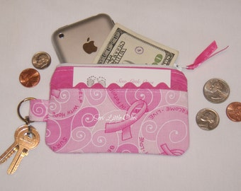 October is Breast Cancer Awareness Month- Pink Ribbon Coin Purse