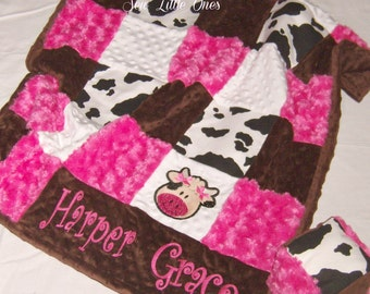 Hot Pink and White Cow Print Patchwork Baby Blanket