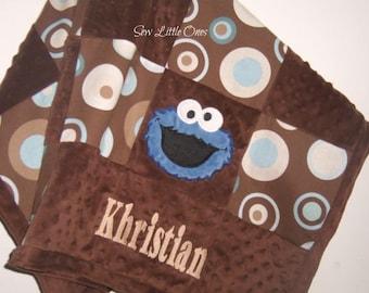 Personalize Cookie Monster Modern Print Patchwork Baby Blanket Etsykids Team