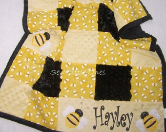 Multi-Bumble Bee Patches Baby Blanket - Includes One FREE Appliqued Bee and Name