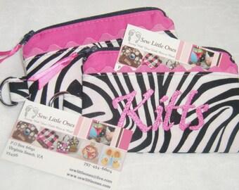 Personalize Hot Pink & Zebra Print Coin Purse
