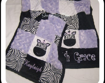 Lavender Zebra Print Personalize Patchwork Baby Small Security Blanket