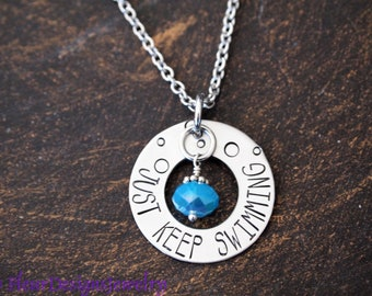 Just Keep Swimming//Keep Going Fish Necklace Semi-Colon Positive Jewellery