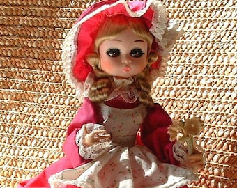 1960's Big Eye Vintage Pose Bradley Stockinette Doll - 8 inches Tall  Original Dress - MISS MAY with Rose undies