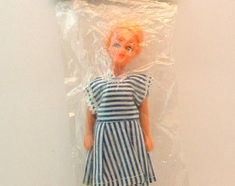 1960's Vintage MOD MISS Doll - 6 inch Doll wears Dawn Doll Sized Clothes NOS Never Removed from Package