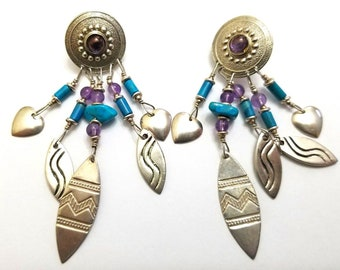Native American Signed Sterling Silver- Turquoise and Amethyst Earrings - Signed TDP Zuni