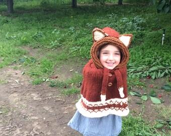 Fox Hooded Poncho, Poncho Size 2, Knit Fox Poncho Size 4, Fox Poncho Wool, Poncho Size 6, Fox Cape Size  8, Halloween Costume, Fox Poncho