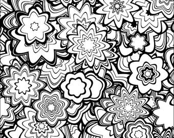 Downloadable Adult Coloring Page: Generative Flowers. Math, Science, Chemistry art book color therapy geeky gift colouring pages