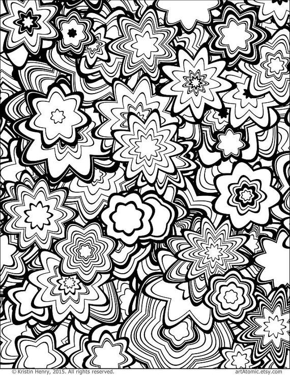 Downloadable Adult Coloring Page: Generative Flowers. Math Etsy