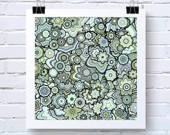 Green Blue Particle Floral Stars Abstract Art. fine art print, by San Francisco artist, Baby Room Nursery. Blue, Green, Olive