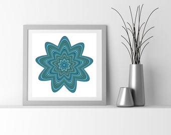 Teal Blue Abstract Flower art chemistry inspired boho chic decor Reflecting Pond Blue Biscay Bay Teal Dried Herb flower_9as