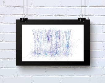 Neuro Science inspired office abstract wall art in blues and purples. Geeky decor. Limited Edition print. Neuro_9t