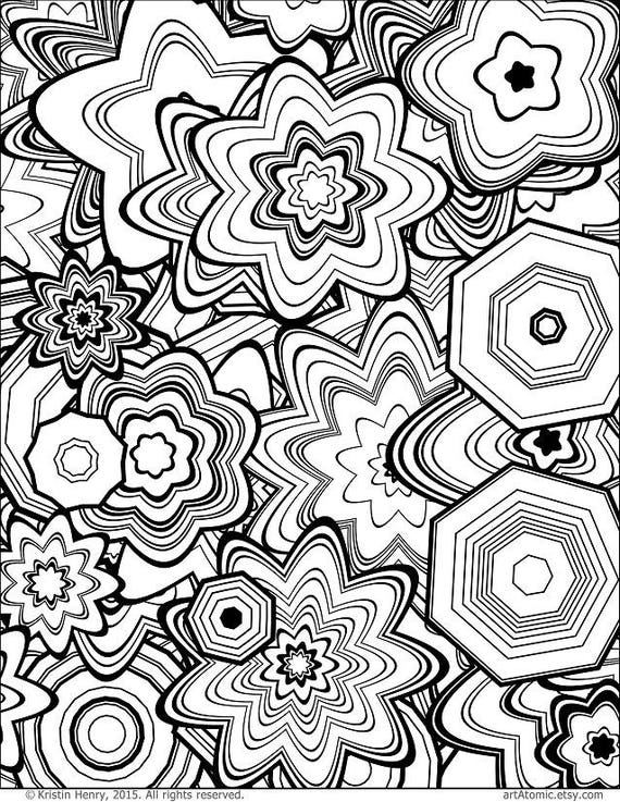 Downloadable Adult Coloring Page Generative Floral Stars Etsy