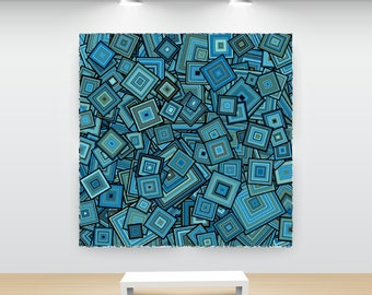Abstract Art Teal Blue Particle Squares, particleSquares9n,  Reflecting Pond Blue Biscay Bay Teal