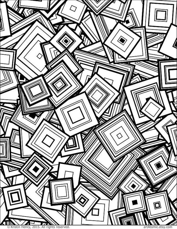 Downloadable Adult Coloring Page Generative Squares Math Etsy