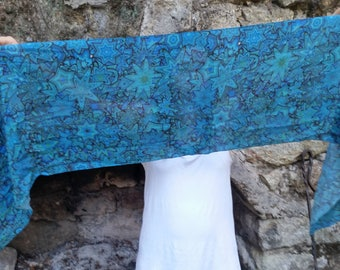 Silk Chiffon Scarf, Teal Blue Flowers Generative Art, created with code, inspired by Chemistry. nerdy gift Wearable geeky art accessory