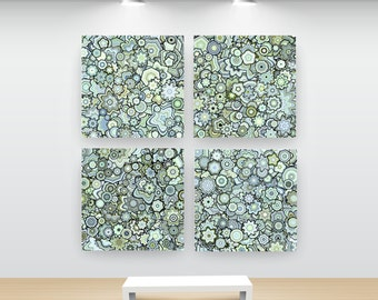 Abstract Floral and Geometric Art. Particle Floral Stars, Set of 4 prints by San Francisco artist Kristin Henry. Green, Blue, Yellow