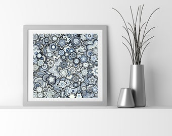 Dark Blue and Yellow Particle Floral Stars Abstract Art. Limited edition Fine Art Giclee print, by San Francisco artist Kristin Henry.