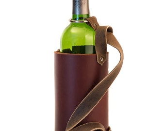 Leather Wine Carrier with Shoulder Strap