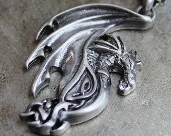 Dragon Necklace - Pewter Pendant and Oxidized Sterling Silver Chain Antiqued Sterling Silver Chain Dragon Jewerly