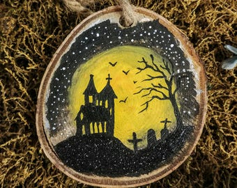 Hand-painted Woodland Halloween Haunted House Ornament