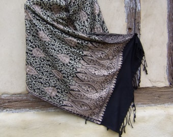 """Gold and Copper on Black Embroidered Pashmina. 100%  pure soft wool shawl/stole. 80 x 28"""". 203 x 71 cm. Kashmir."""
