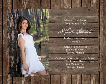 Graduation Announcements Country Wood Rustic Chic Barn Party Invitations Senior Picture 10 Printed Invites Graduate FREE Shipping