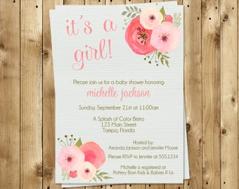 Victorian invitation etsy baby shower invitation girl botanical flower watercolor pink gray vintage victorian its a girl sprinkle 10 printed invites filmwisefo