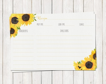 Sunflower Recipe Card Printable Instant Download DIY Bridal Shower Floral Kitchen Cook Book Watercolor Fall Wedding Matching