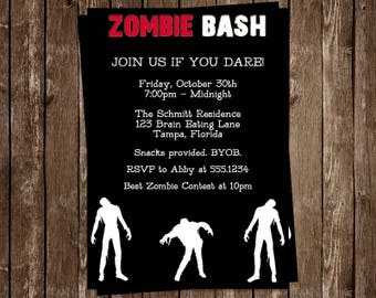 Walking dead invites etsy zombie bash invitations zombie party invites for birthday party or halloween set of 10 printed cards and envelopes stopboris Images