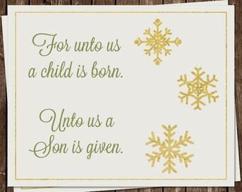 religious christmas cards for unto us scripture jesus christian reason for the season set of 24 folding notes free shipping fouus - Christmas Cards Religious
