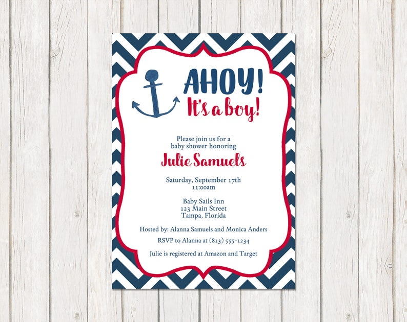Red Navy Blue One Dollar Each with Envelope Included It/'s a Boy Invitation Chevron Ahoy Anchor Boys Nautical Baby Shower Printed