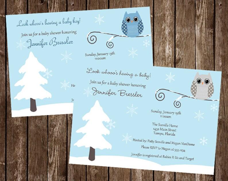 592fa51014d7 Owl Baby Shower Invitations Winter Boy Blue Aqua Its A