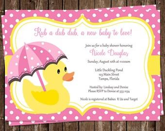 Rubber Ducky, Baby Shower Invitations, Pink, Girls, Polka Dots, Yellow, Umbrella, 10 Printed Invites, FREE Shipping, Little Ducks, Custom
