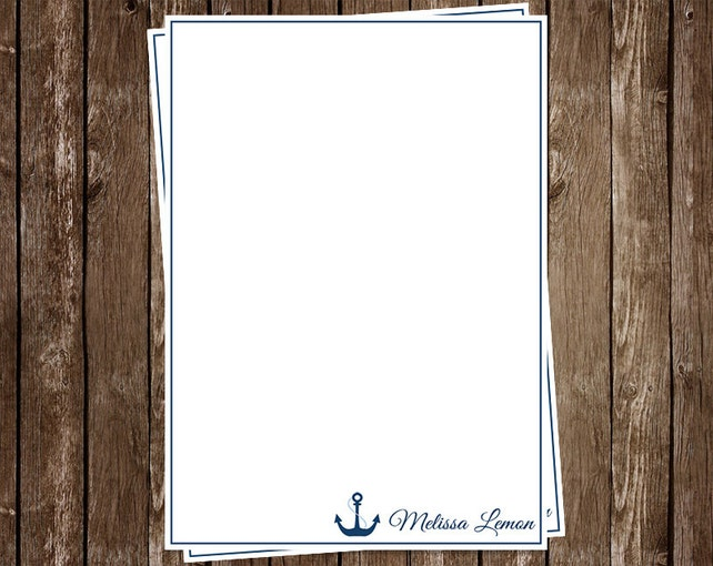 Nautical, Notecards, Personalized, Navy, Stationery, Simple, Blue stripes, Professional, Set of 12 Custom Note Cards with Envelopes, Anchor