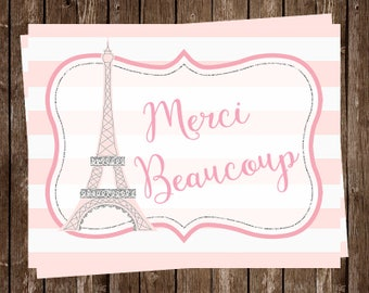 Paris Thank You Cards, French, Pink, Girl, Purple, Merci Beaucoup, Eiffel Tower, France, 20 Cards with Envelopes, FREE Ship, OHLAL, Oh La La