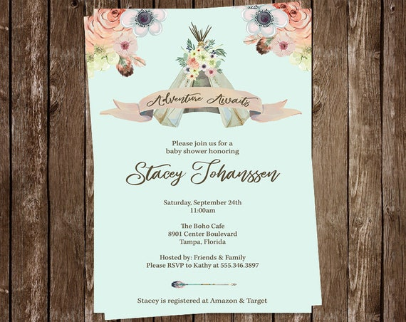Bohemian baby shower invitations floral dream catcher etsy image 0 filmwisefo