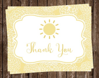 Baby Shower Thank You Cards, Sunshine, You Are My Sunshine, Yellow, Birthday, Gender Neutral, Sunny, 20 Folded Notes, FREE Shipping