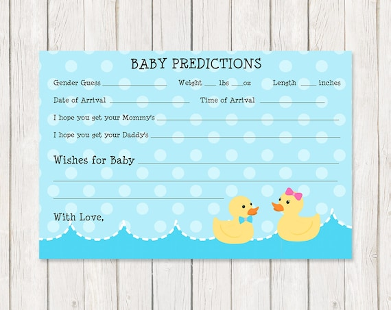 Rubber Ducky Baby Predictions Cards, Gender Reveal Shower Party, He Or She,  Printed and Shipped or Digital File, FREE Shipping, Waddle It Be