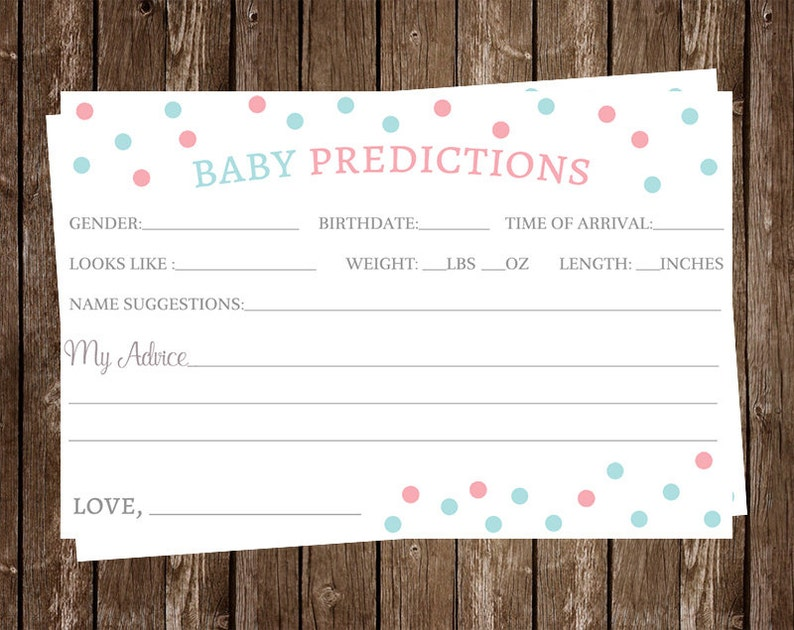 Baby Shower, Prediction Cards, Gender Reveal, Pink, Blue, White, 24 Printed  Cards, FREE Shipping, HORSH, Polka Dots, He or She  Advice