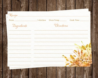 Recipe Cards, Bridal Shower, Wedding, Autumn, Leaves, Orange, Fall, New Home, Housewarming, Fall in Love,  24 Printed Cards, FREE Shipping