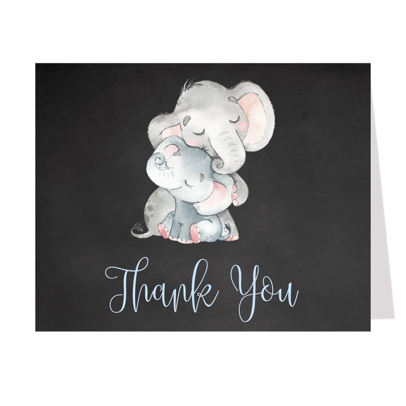 Pink 20 Folding Notes Balloon Sprinkle Blue Birthday Gray Blank Inside Baby Shower Elephant Thank You Cards Chalkboard