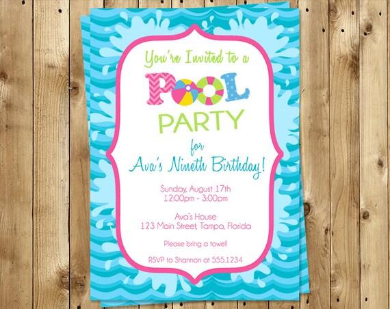 birthday party invitations splish splash fun in the sun