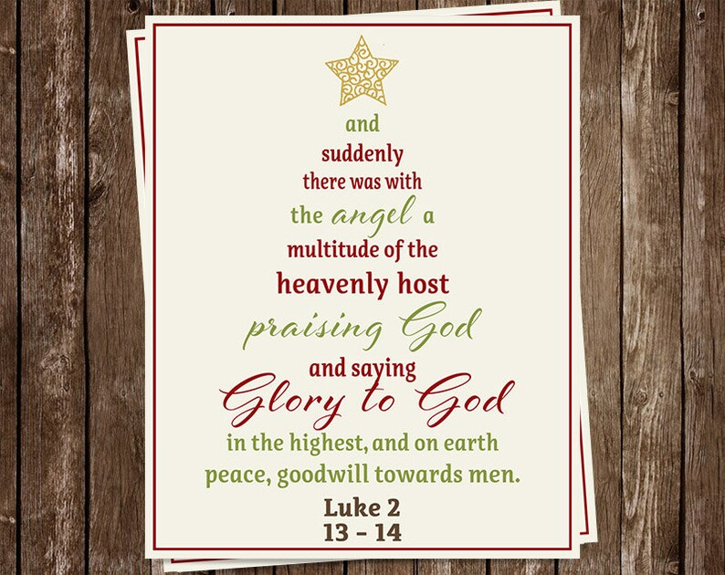 Religious Christmas Cards.Religious Christmas Cards Scripture Tree Typography Glory To God Luke 2 Set Of 20 Holiday Cards Free Shipping Chrtr Christian Tree