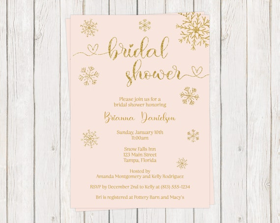 Gold Printable INSTANT DOWNLOAD Fully Editable Invite Pink Snowflakes Winter Bridal Shower Invitations Here Comes the Bride DIY