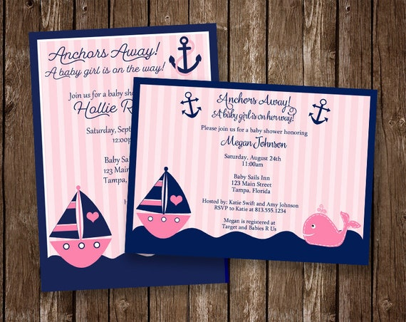 Nautical Baby Shower Invitations Girls Whale Pink